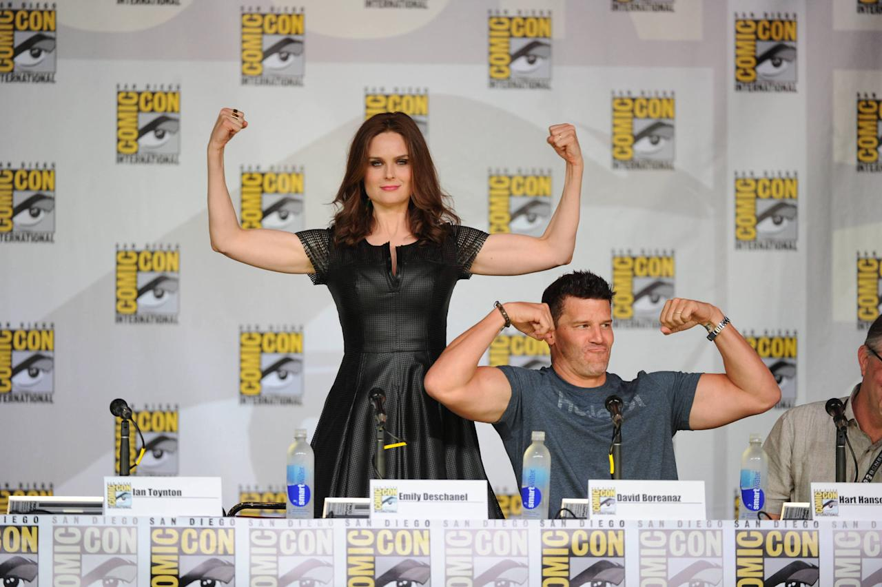 "Emily Deschanel and David Boreanaz at the ""Bones"" panel on Friday, July 19 during Fox Fanfare at San Diego Comic-Con 2013."