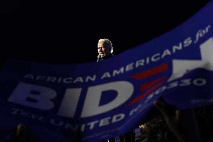 Democratic presidential candidate former Vice President Joe Biden speaks at a drive-in rally at Lexington Technology Park, Monday, Nov. 2, 2020, in Pittsburgh. (AP Photo/Andrew Harnik)