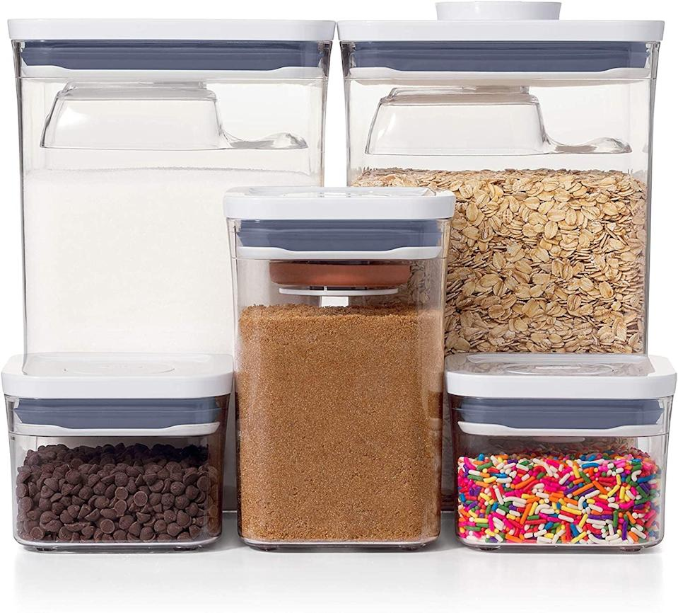 """<p>This new <a href=""""https://www.popsugar.com/buy/OXO-Good-Grips-8-Piece-POP-Container-Baking-Set-569806?p_name=OXO%20Good%20Grips%208-Piece%20POP%20Container%20Baking%20Set&retailer=amazon.com&pid=569806&price=60&evar1=casa%3Aus&evar9=47434945&evar98=https%3A%2F%2Fwww.popsugar.com%2Fhome%2Fphoto-gallery%2F47434945%2Fimage%2F47434995%2FOXO-Good-Grips-8-Piece-POP-Container-Baking-Set&list1=editors%20pick%2Corganization%2Ckitchens%2Cproduct%20reviews%2Chome%20organization%2Chome%20shopping&prop13=mobile&pdata=1"""" class=""""link rapid-noclick-resp"""" rel=""""nofollow noopener"""" target=""""_blank"""" data-ylk=""""slk:OXO Good Grips 8-Piece POP Container Baking Set"""">OXO Good Grips 8-Piece POP Container Baking Set</a> ($60) is so cool, because they include scoops that connect to the lids.</p>"""