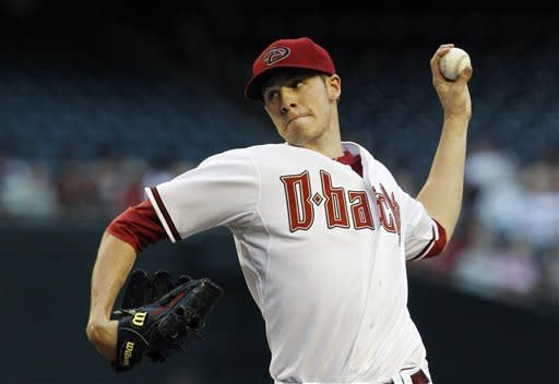 Arizona Diamondbacks' Patrick Corbin throws against the Los Angeles Dodgers during the first inning of a baseball game, Monday, May 21, 2012, in Phoenix. (AP Photo/Ross D. Franklin)