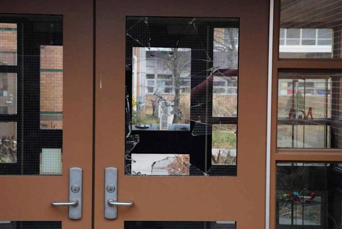 A handout crime scene evidence photo provided by the Connecticut State Police showing a door of the Sandy Hook Elementary School damaged in the Dec. 14, 2012, shooting rampage, taken on an unspecified date in Newtown, Conn. (Photo: Connecticut State Police via Getty Images)