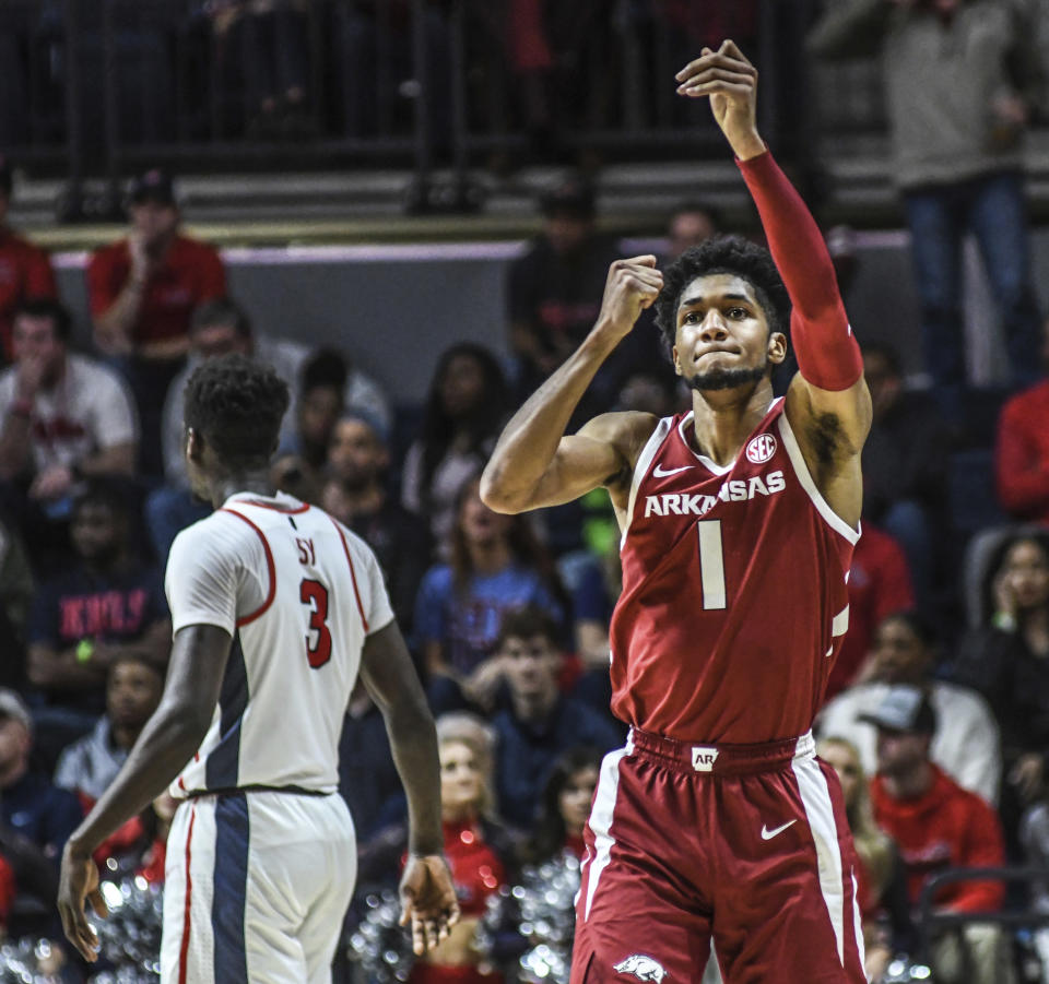 Arkansas guard Isaiah Joe (1) reacts after making a 3-pointer against Mississippi during an NCAA college basketball game Saturday, Jan. 11, 2020, in Oxford, Miss. (Bruce Newman/The Oxford Eagle via AP)