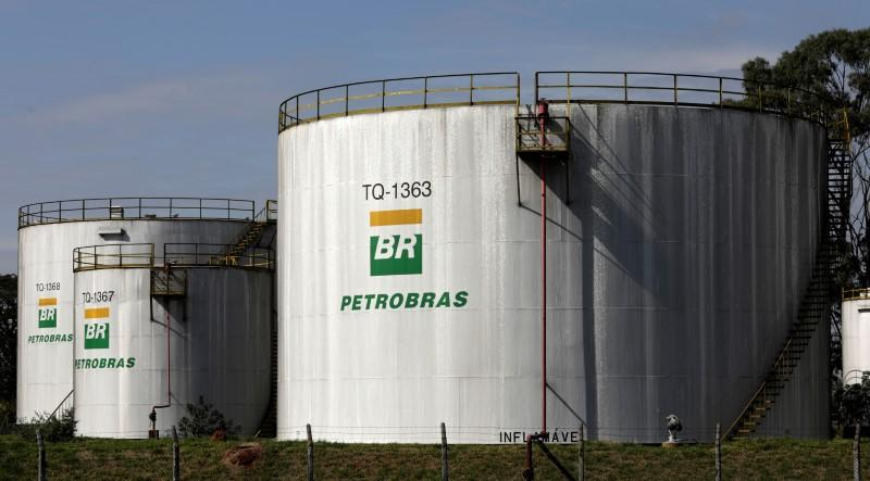 The logo of Brazil's state-run Petrobras oil company is seen on a tank in at Petrobras Paulinia refinery in Paulinia