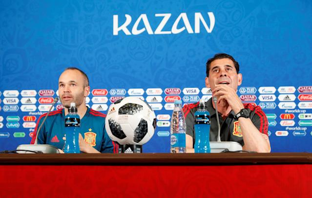 Soccer Football - World Cup - Spain Press Conference - Kazan Arena, Kazan, Russia - June 19, 2018 Spain coach Fernando Hierro and Andres Iniesta during the press conference REUTERS/John Sibley