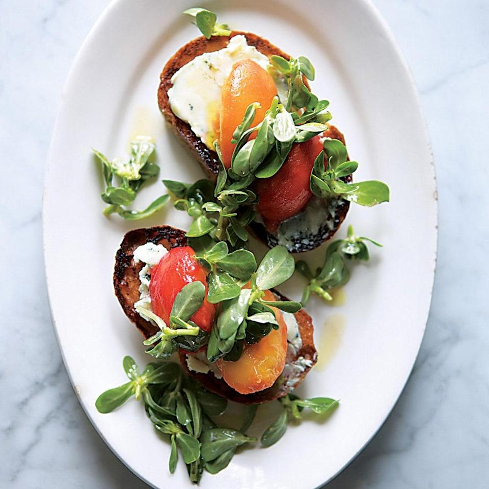 """The best blue cheese for this is salty but creamy, not too sharp or funky—look for Roquefort or Saint Agur. A splendid, sophisticated light lunch, this peach recipe would also be a wonderful early-evening appetizer with a glass of wine. <a href=""""https://www.epicurious.com/recipes/food/views/peach-and-blue-cheese-toasts-51242050?mbid=synd_yahoo_rss"""" rel=""""nofollow noopener"""" target=""""_blank"""" data-ylk=""""slk:See recipe."""" class=""""link rapid-noclick-resp"""">See recipe.</a>"""