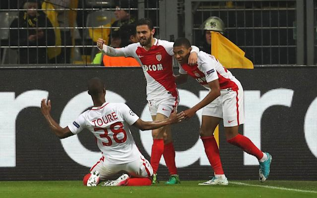 Kylian Mbappe celebrates putting his side ahead on the night - Bongarts