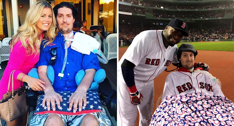 Pete Frates with his partner (left) and Boston Red Sox star David Ortiz. Source: Twitter
