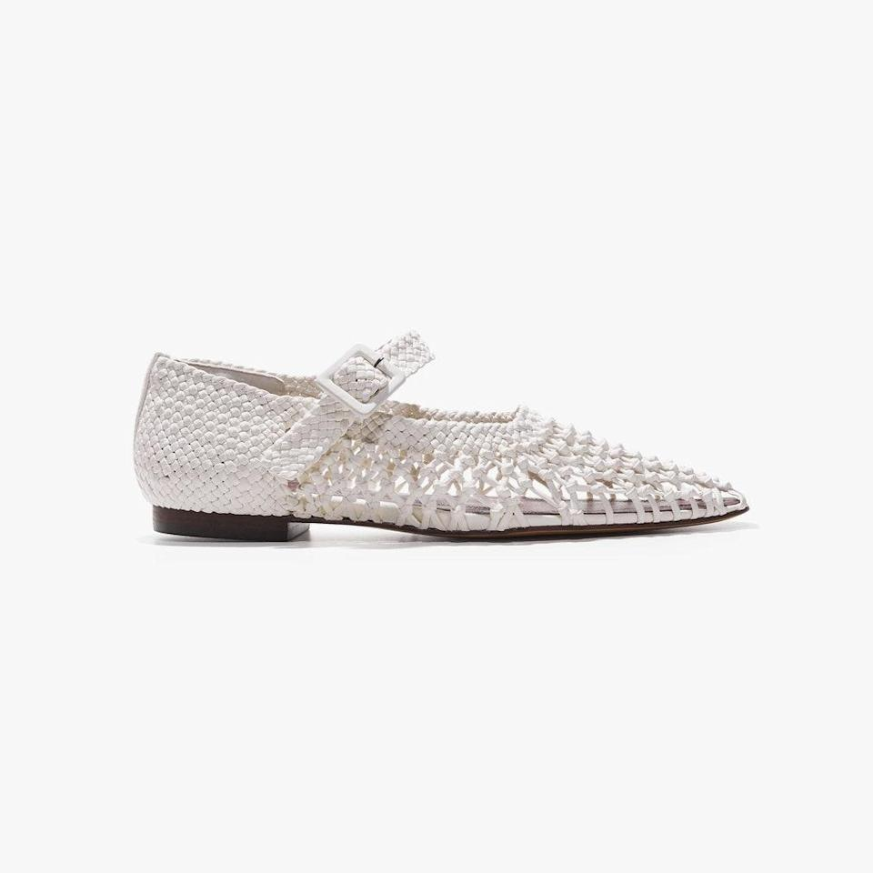 """$660, MARI GIUDICELLI. <a href=""""https://marigiudicelli.com/collections/shop-all/products/ilana-mary-jane-off-white-woven-sheepskin?variant=39267345236079"""" rel=""""nofollow noopener"""" target=""""_blank"""" data-ylk=""""slk:Get it now!"""" class=""""link rapid-noclick-resp"""">Get it now!</a>"""