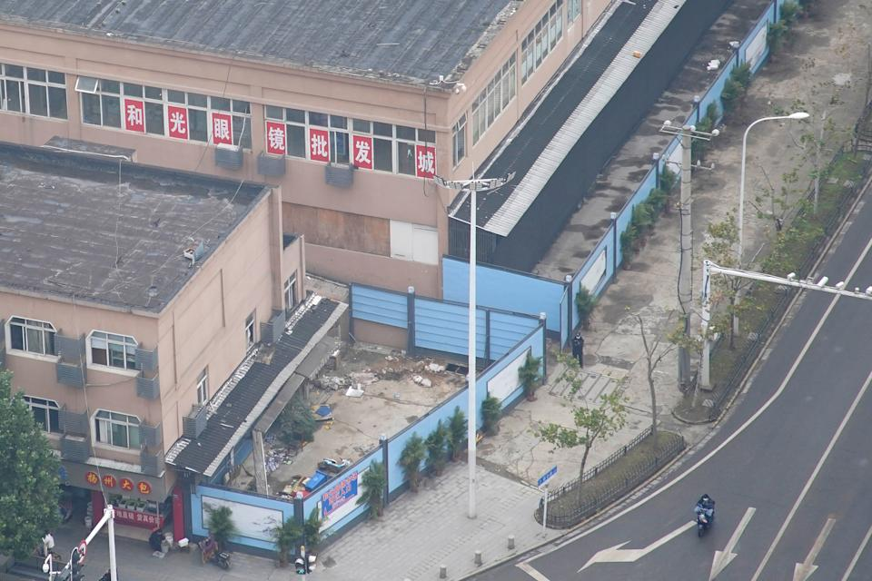 The building of Huanan seafood market where coronavirus is believed to have first surfaced.