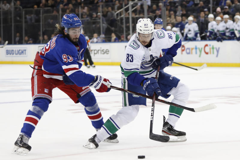 New York Rangers center Mika Zibanejad (93) of Sweden defends against Vancouver Canucks center Jay Beagle (83) in the first period of a NHL hockey game, Sunday, Oct. 20, 2019, in New York. (AP Photo/Kathy Willens)