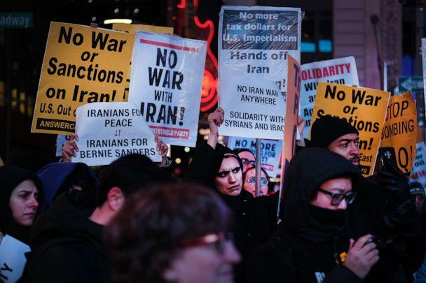 PHOTO: People participate in a protest in New York City's Times Square against U.S. military conflict with Iran on Jan. 08, 2020. The 'No War With Iran' protest follows the assassination of Iranian general Qasem Soleimani by the Trump administration. (Spencer Platt/Getty Images)