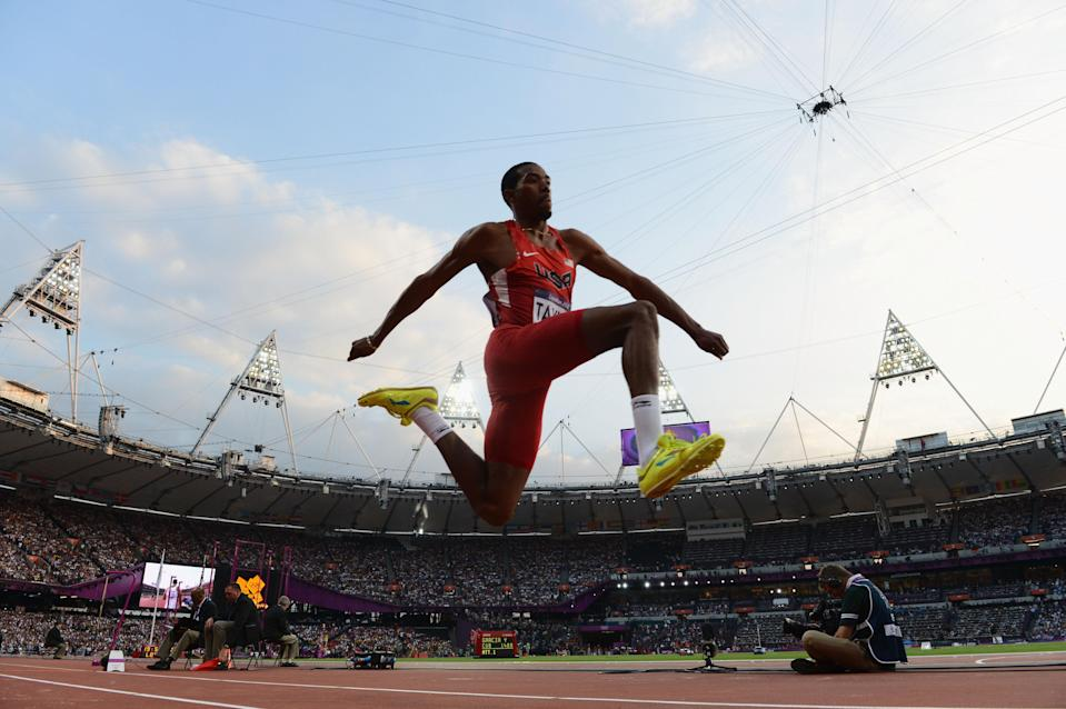 LONDON, ENGLAND - AUGUST 09: Christian Taylor of the United States competes during the Men's Triple Jump Final on Day 13 of the London 2012 Olympic Games at Olympic Stadium on August 9, 2012 in London, England. (Photo by Stu Forster/Getty Images)