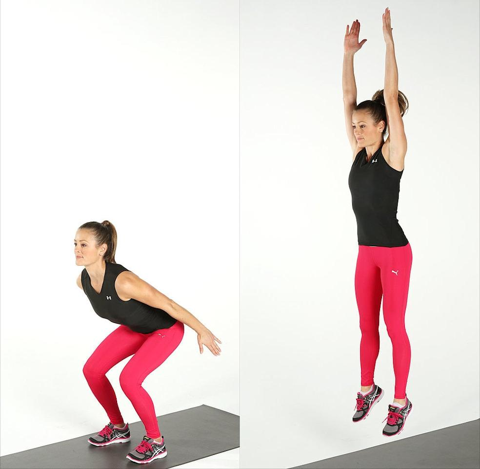<ul> <li>Start standing, with your feet hips-distance apart and a wrist weight on each wrist.</li> <li>Lower into a squat. Keep your chest lifted, your back flat, and your core engaged. Your knees should not extend past your toes.</li> <li>While in squat position, lower down enough to touch both hands to the floor.</li> <li>In one controlled motion, swing your arms to the ceiling and jump.</li> <li>Land quietly as you return to the squat position. This completes one rep.</li> <li>Complete 20 reps.</li> </ul>