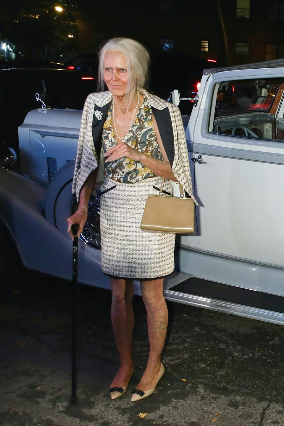 """<p>In 2013, Klum went as the rather-meta """"95 year old Heidi Klum."""" Elderly Heidi looks great for her age and is impeccably turned out in a Chanel suit. We should all be so lucky. (Photo: Getty Images) </p>"""