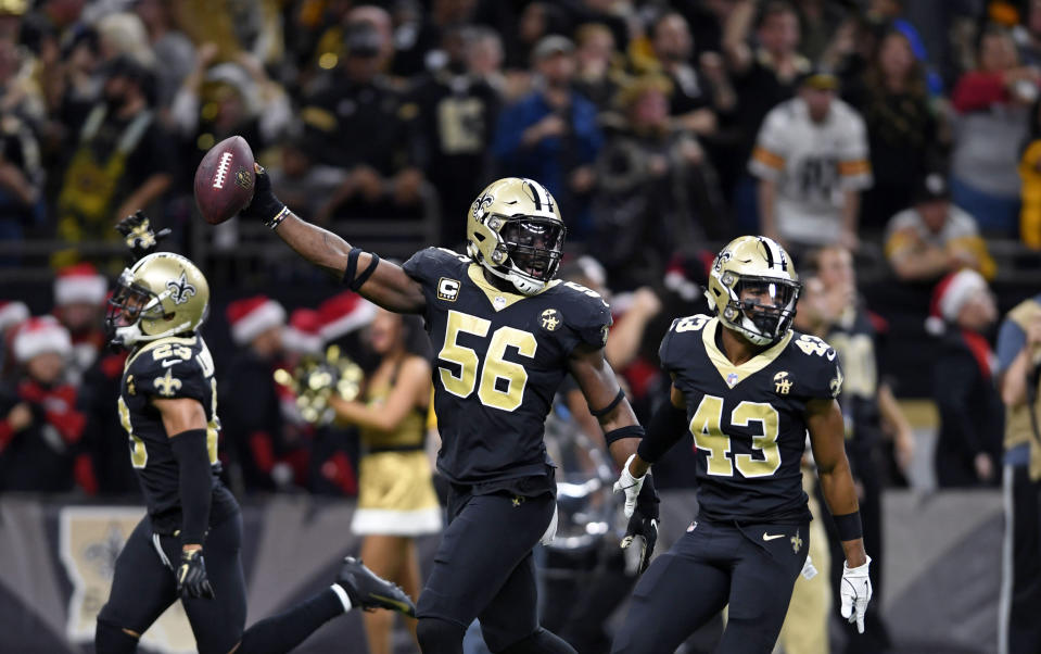 The New Orleans Saints are favorites to win the Super Bowl. (AP Photo/Bill Feig)