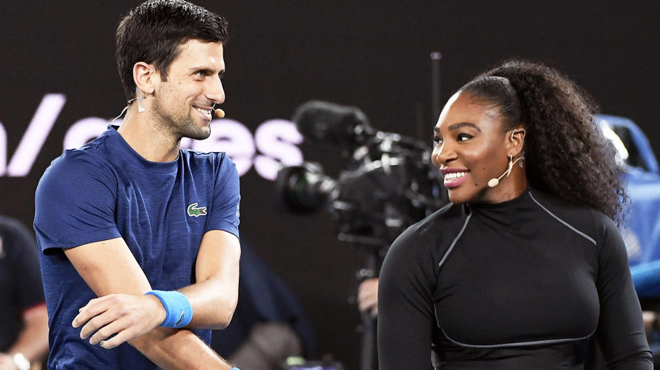 Novak Djokovic shared a laugh with Serena Williams at the Australian Open.