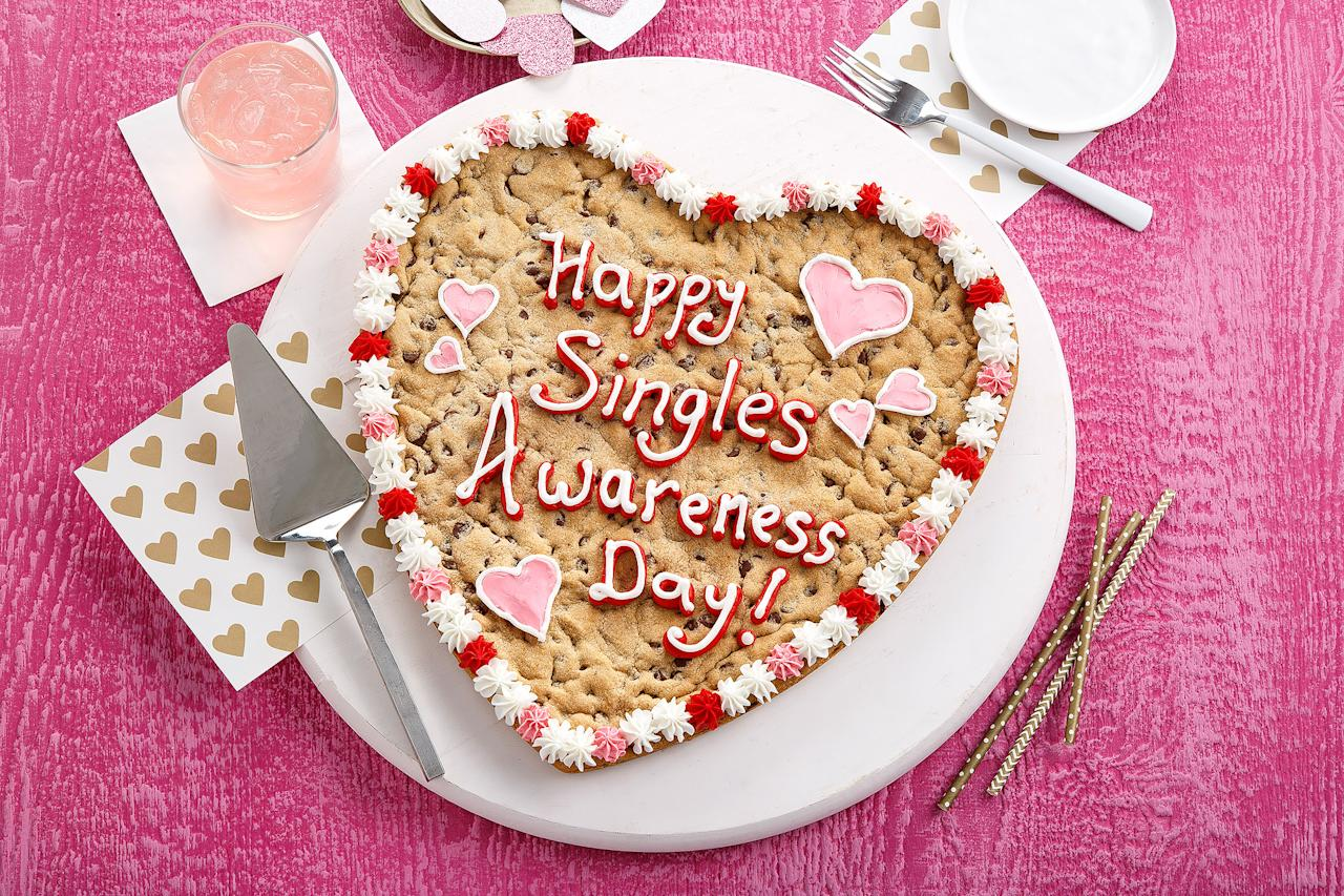"<p><a rel=""nofollow"" href=""https://www.mrsfields.com/gifts/Heart-Personalized-Cookie-Cake/#p:12;c:165"">This cookie cake</a> will shine at your singles party with a fun custom message. </p>"