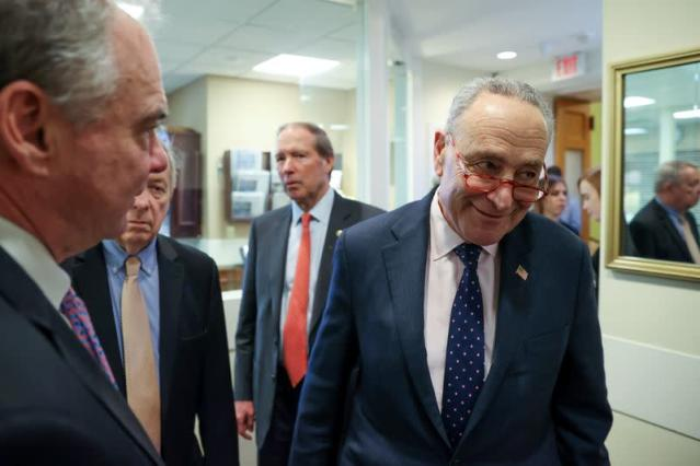 U.S. Senate Minority Leader Schumer arrives for a news conference after the final vote on the war powers resolution regarding potential military action against Iran, at the Capitol in Washington