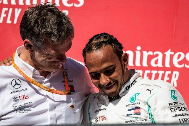 """James Allison, Technical Director, Mercedes AMG, and Lewis Hamilton, Mercedes AMG F1, 2nd position, on the podium <span class=""""copyright"""">Simon Galloway / Motorsport Images</span>"""