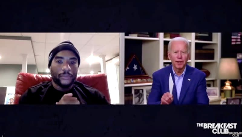 """U.S. Democratic presidential candidate Joe Biden participates in radio interview with host """"Charlamagne tha God"""" remotely from Biden's home in Wilmington, Delaware"""