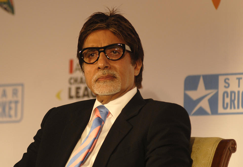 MUMBAI, INDIA - AUGUST 06: Amitabh Bachchan attends the announcement of  brand ambassador of Airtel Champions League Twenty20 by ESPN Star Sports on August 06, 2010 in Mumbai, India (Photo by Prodip Guha/Getty Images)