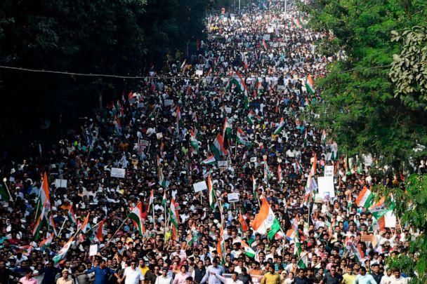 PHOTO: Supporters and activists of Trinamool Congress (TMC) participate in a mass rally to protest against the Indian government's Citizenship Amendment Act (CAA) in Kolkata on Dec. 16, 2019. (Dibyangshu Sarkar/AFP via Getty Images)