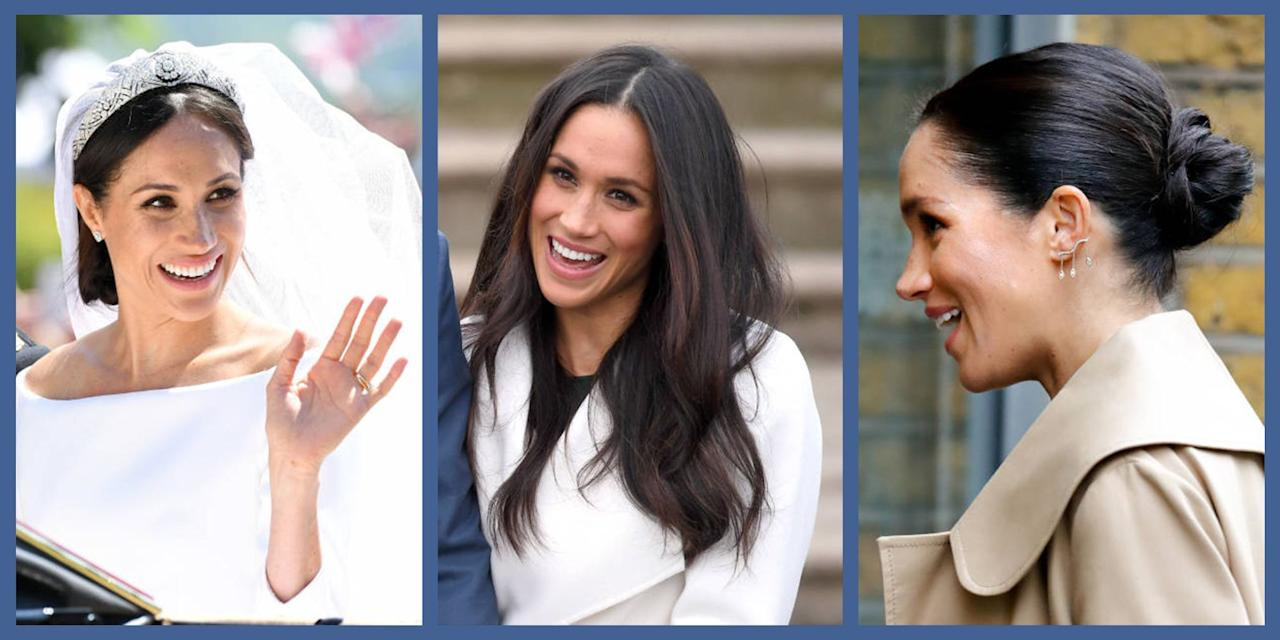 """<p>Meghan Markle captured the hearts of millions when she became the Duchess of Sussex in 2018. Since then, Meghan has made her mark on the British royal family <em>and</em> added mom to her resume when she welcomed Archie in May 2019. But her <a href=""""https://www.townandcountrymag.com/style/fashion-trends/g3272/meghan-markle-preppy-style/"""" target=""""_blank"""">preppy, modern style</a> and iconic hairstyles have been turning heads since her acting days. Here, some of her best looks, from the Hollywood red carpet all the way to the royal box at Wimbledon.</p>"""