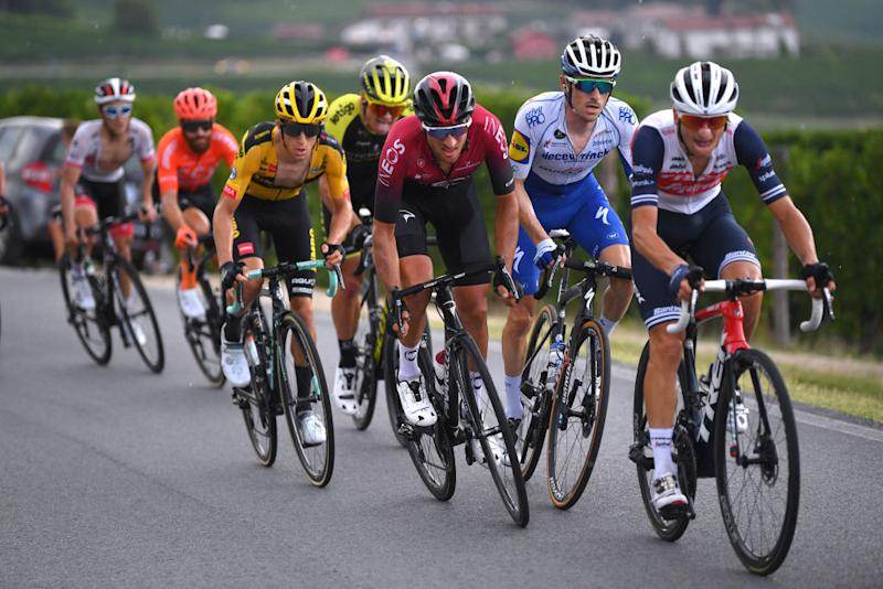 BAROLO ITALY AUGUST 12 George Bennett of New Zealand and Team JumboVisma Gianni Moscon of Italy and Team INEOS Dries Devenyns of Belgium and Team Deceuninck QuickStep Giulio Ciccone of Italy and Team TrekSegafredo Peloton during the 104th Giro del Piemonte 2020 a 187km race from Santo Stefano Belbo to Barolo 294m GranPiemonte GranPiemonte on August 12 2020 Barolo Italy Photo by Tim de WaeleGetty Images