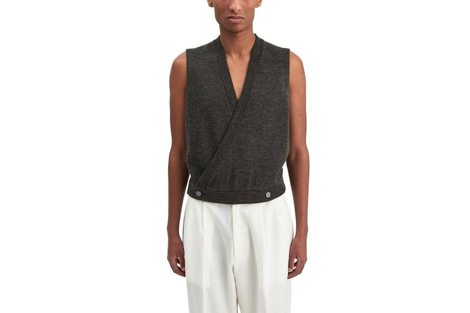 "$460, Très Bien. <a href=""https://tres-bien.com/winnie-new-york-double-breasted-wool-sweater-vest-charcoal-ss21"" rel=""nofollow noopener"" target=""_blank"" data-ylk=""slk:Get it now!"" class=""link rapid-noclick-resp"">Get it now!</a>"