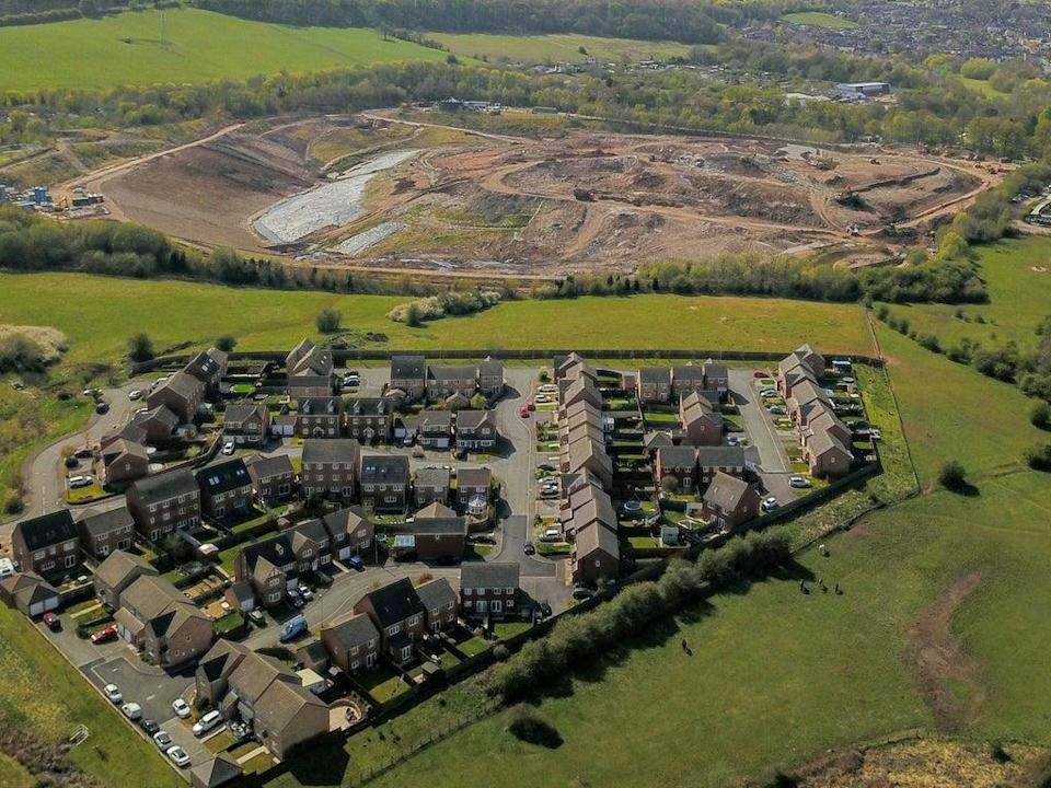 Aerial view of Walleys Quarry landfill beside the town of Silverdale, Newcastle-under-Lyme  (Tristan Potter/SWNS)