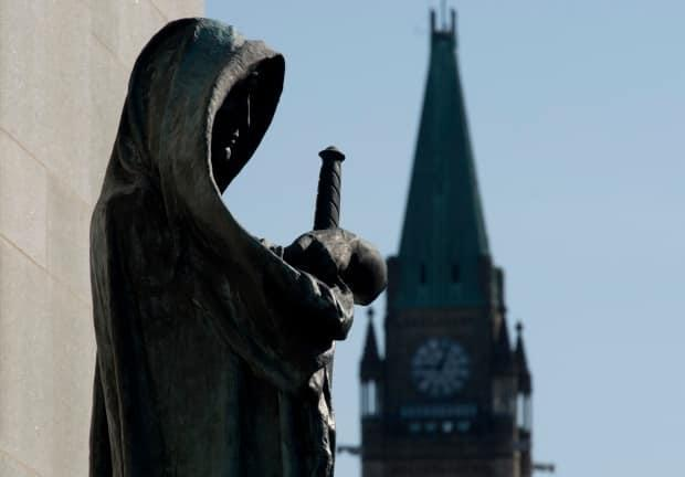 Veritas (Truth) guards the entrance of the Supreme Court of Canada. Courts everywhere have drastically scaled back in-person operations in response to the COVID-19 pandemic.