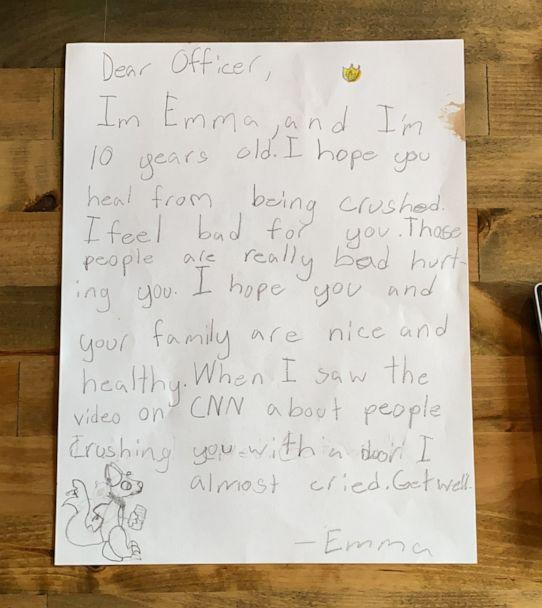 PHOTO: A little girl from Billings, Montana, named Emma Jablonski, 10, wrote a touching letter to an officer who responded to the violent siege at the U.S. Capitol. She has since received a response from the Metropolitan Police Department. (Johnna Jablonski)