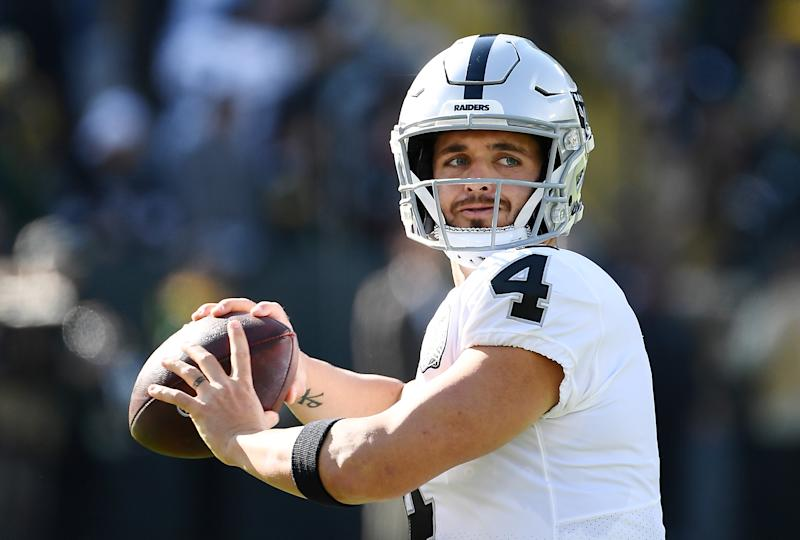 Derek Carr fumbled out of the end zone against the Green Bay Packers, something he's done in a game previously. (Getty Images)