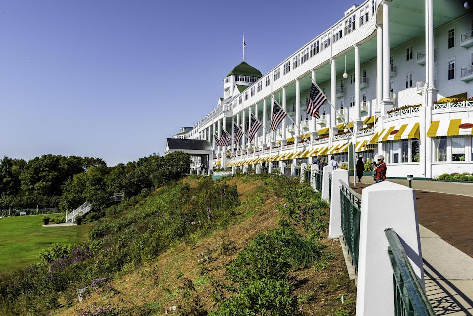 The front entrance of the Grand Hotel on Mackinac Island