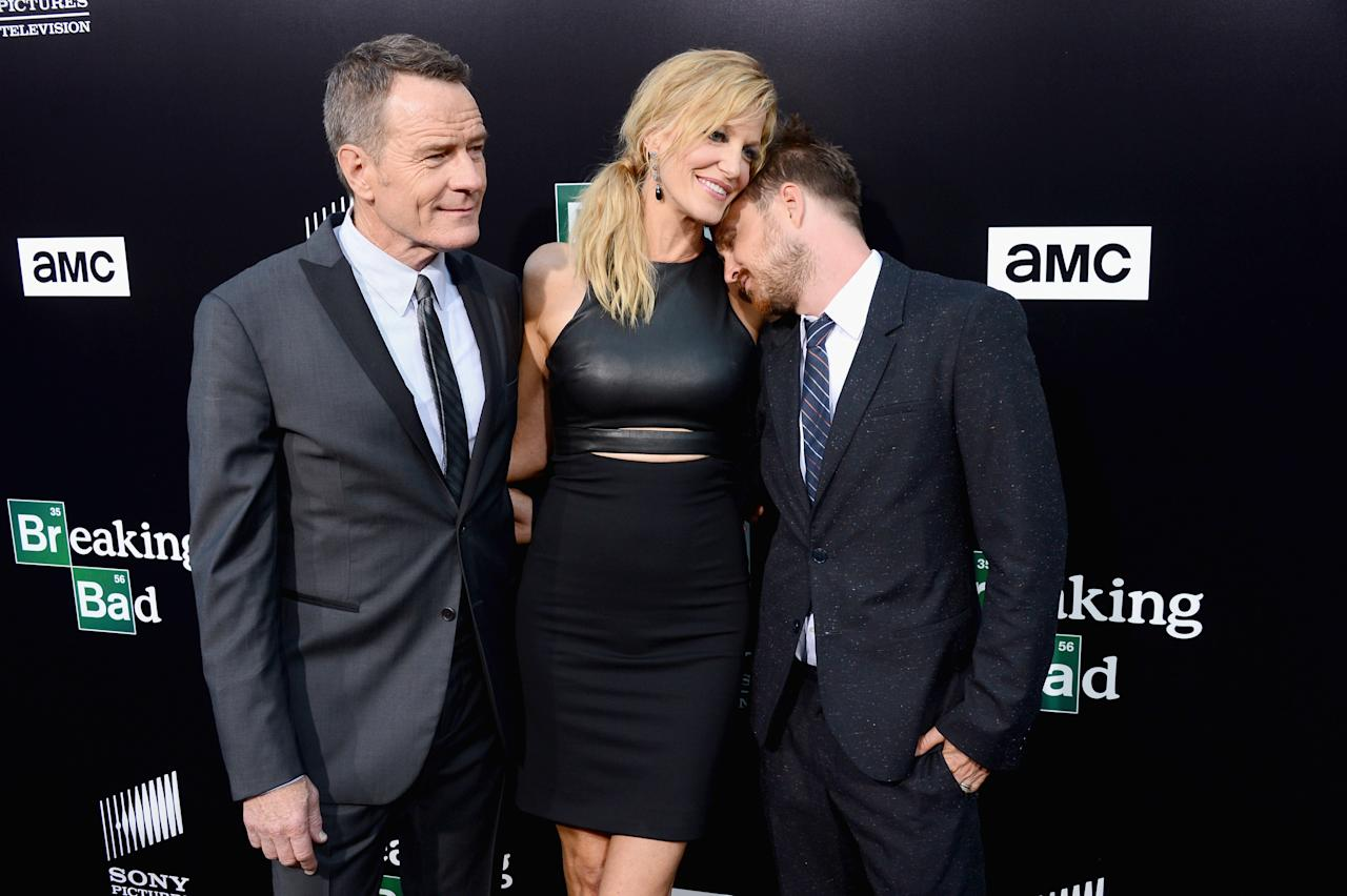"CULVER CITY, CA - JULY 24: (L-R) Actors Bryan Cranston, Anna Gunn and Aaron Paul arrive as AMC Celebrates the final episodes of ""Breaking Bad"" at Sony Pictures Studios on July 24, 2013 in Culver City, California. (Photo by Mark Davis/Getty Images)"