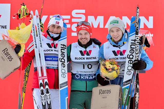 Nordic Combined - FIS Nordic Combined World Cup - Men's Gundersen LH HS140/10.0 K - Granaasen, Trondheim, Norway, March 14, 2018 - (L-R) second Jarl Magnus Riiber of Norway, winner Fabian Riessle of Germany and third Eero Hirvonen of Finland pose on the podium. NTB Scanpix/Ned Alley via Reuters ATTENTION EDITORS - THIS IMAGE HAS BEEN SUPPLIED BY A THIRD PARTY. NORWAY OUT. NO COMMERCIAL OR EDITORIAL SALES IN NORWAY.