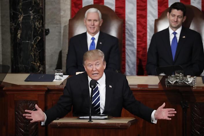 President Trump addresses a joint session of Congress on Capitol Hill in Washington, Feb. 28, 2017, as Vice President Mike Pence and House Speaker Paul Ryan listen. (Photo: Pablo Martinez Monsivais/AP)