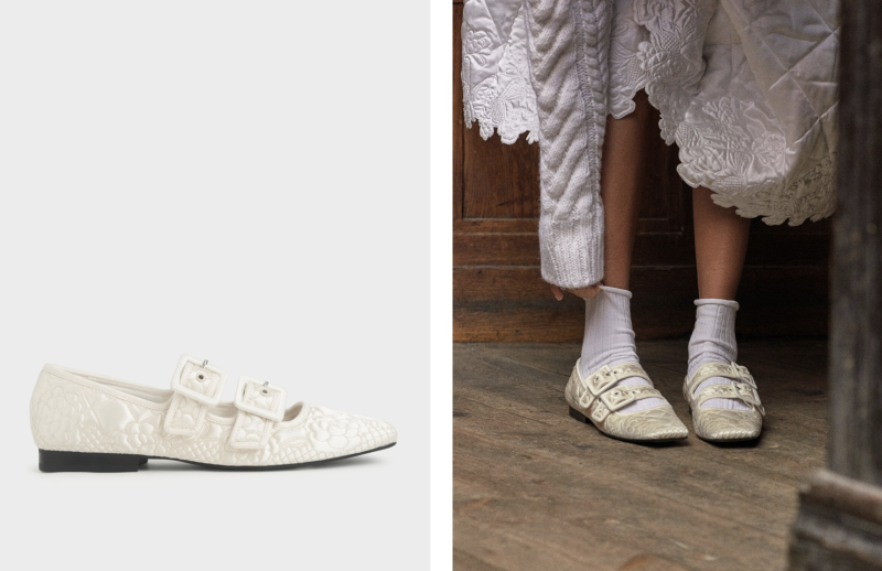 Quilted Recycled Satin Dhalia Mary Janes. (PHOTO: Charles & Keith)