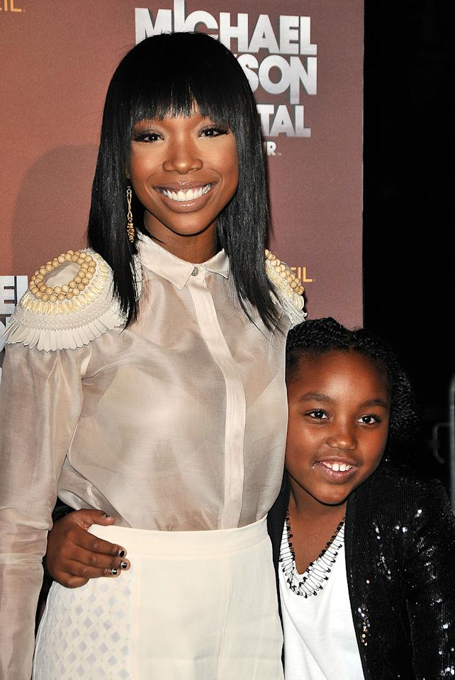 <p>Brandy et sa fille Sy'rai. La chanteuse a accouché de sa fille à 23 ans. (Photo par Jason LaVeris/FilmMagic) </p>