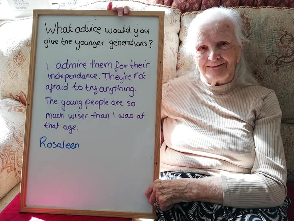 Care home resident Rosaleen, 104, offered her advice. (SWNS)