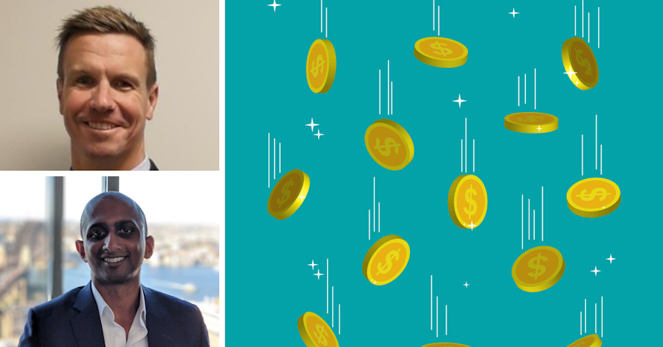 DigitalX fund manager Matt Harry, Bitcoin podcast host Sstephan Livera and gold coins falling on a blue background