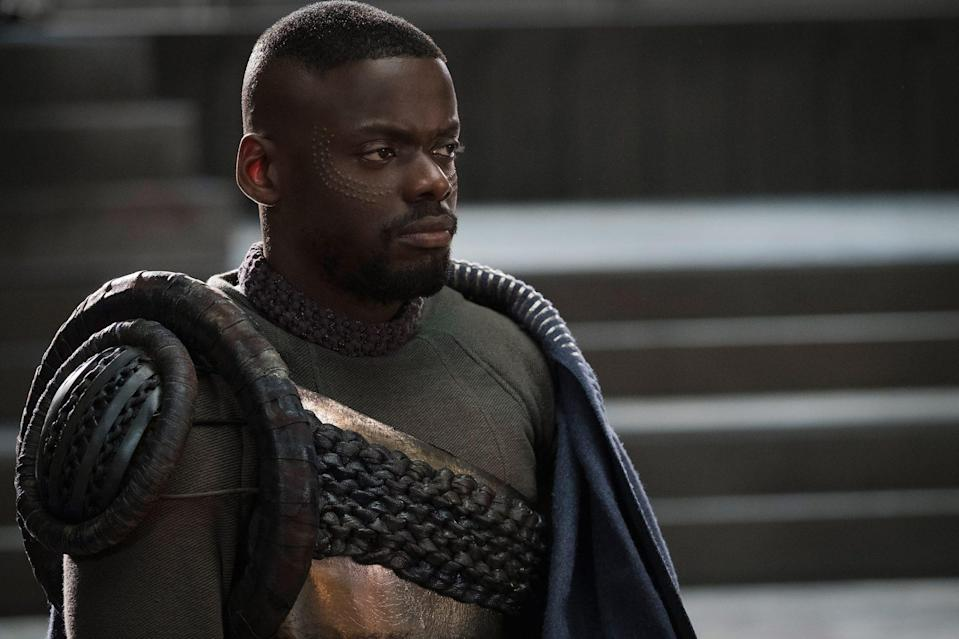 <p>In 2018, Kaluuya landed a spot in the Marvel Universe in a film that would become a cultural phenomenon. He played W'Kabi, best friend to T'Challa (Chadwick Boseman) in the Oscar-winning <em>Black Panther</em>, which grossed more than $1 billion worldwide.</p>