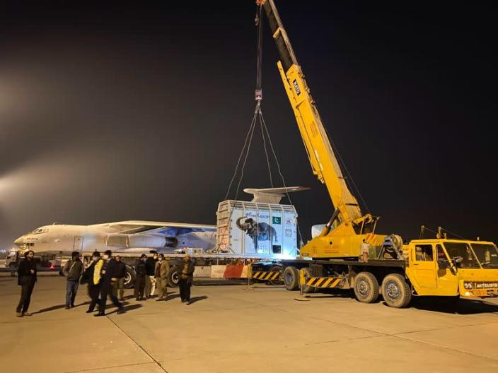 A crane lifts a crate carrying Kaavan, an elephant to be transported to a sanctuary in Cambodia, at the Islamabad International Airport in Islamabad