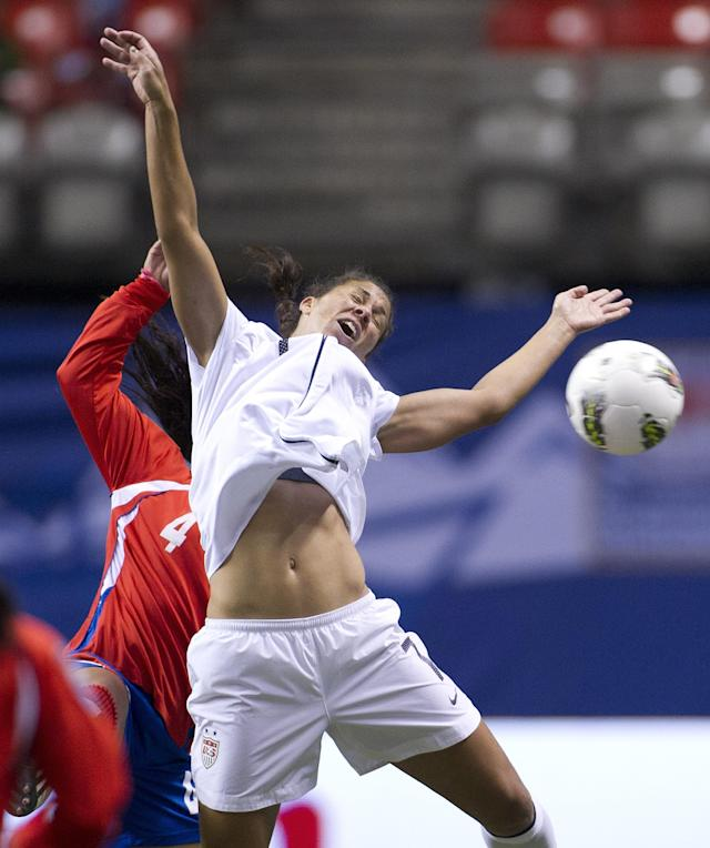 VANCOUVER, CANADA - JANUARY 27: Shannon Boxx #7 of the United States reacts after getting a head on the ball while battling with Fernanda Barrantes #4 of Costa Rica during first half of semifinals action of the 2012 CONCACAF Women's Olympic Qualifying Tournament at BC Place on January 27, 2012 in Vancouver, British Columbia, Canada. (Photo by Rich Lam/Getty Images)