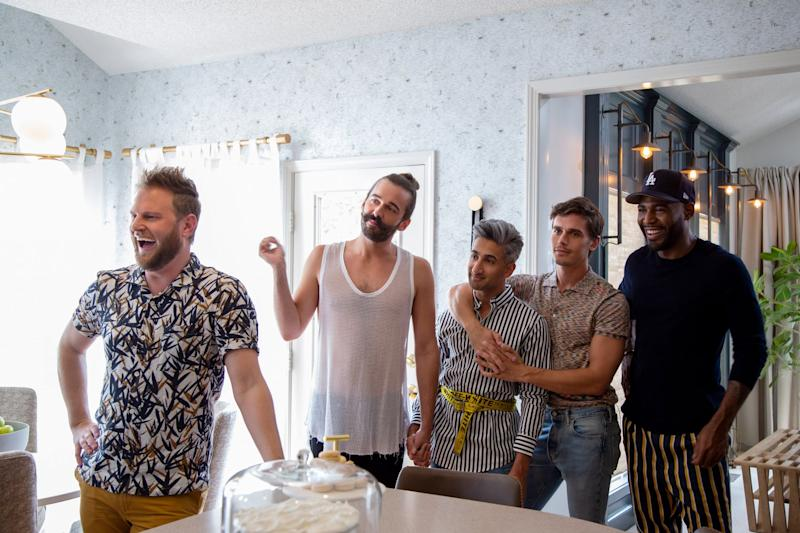 QUEER EYE, from left: Bobby Berk, Jonathan Van Ness, Tan France, Antoni Porowski, Karamo Brown, (Season 3, ep. 306, airs March 15, 2019). photo: Christopher Smith / Netflix / Courtesy: Everett Collection