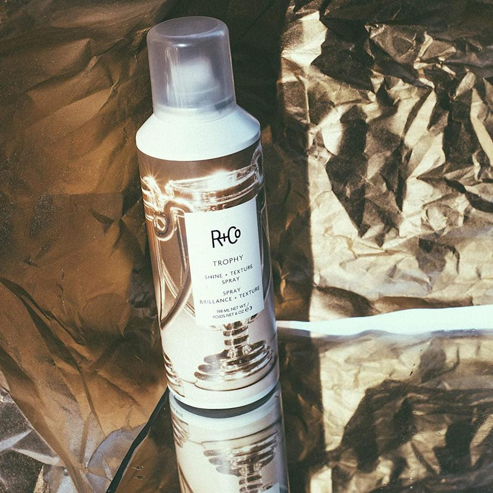 <p>The <span>R+Co Trophy Shine and Texture Spray</span> ($22, originally $32) is a must-have finishing spray for those holiday events and parties. It's a volumizing texture spray that also acts like a hairspray with a high-shine finish.</p>