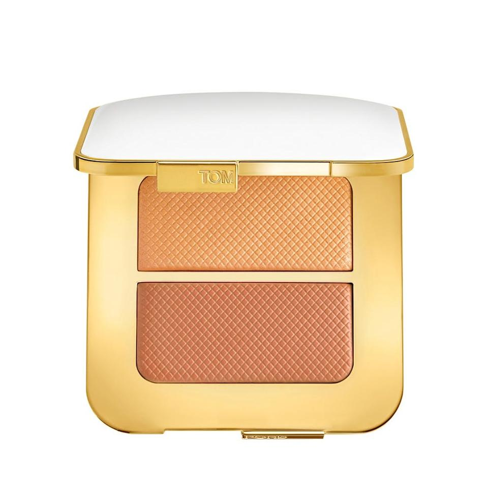 """<p>Add a few gentle swooshes of this shimmering bronzed highlighter to enhance your complexion without giving off greasy vibes. It also blends into skin easily and can be worn on the cheeks, around the eyes, or all over the face if you're really trying to glow there. (<a rel=""""nofollow"""" href=""""http://www.tomford.com/sheer-highlighting-duo/T57A.html"""">$78</a>, tomford.com) (Photo: Tom Ford) </p>"""