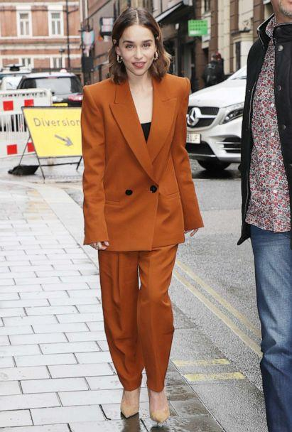 PHOTO: Emilia Clarke seen returning to her hotel whilst promoting new movie 'Last Christmas' on Oct. 24, 2019, in London. (Neil Mockford/GC Images/Getty Images)