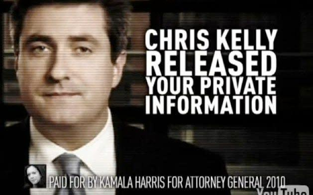 """An affectedly grainy image of Chris Kelly, a round-faced young-ish white man with close-cropped hair and wearing a suit, with the words: """"CHRIS KELLY RELEASED YOUR PRIVATE INFORMATION"""". At the bottom, a disclaimer reads: """"Paaid for by Kamala Harris for Attorney General 2010"""" - Kamala Harris/YouTube"""