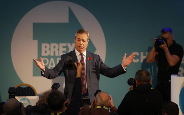 """His comments come as support for the Brexit Party has plummeted in the past few days, as leader <a href=""""https://uk.news.yahoo.com/tagged/nigel-farage/?guccounter=1&amp;guce_referrer=aHR0cHM6Ly93d3cuZ29vZ2xlLmNvbS8&amp;guce_referrer_sig=AQAAAKtOpb1oAioMkxI5Oz5eVEjFzLTjG-tGbQHp9O7-OrcQjzpP8ps-gB1u5-eUs5LkfYXjcWv6JNMpxmJHHWanl7s4KX5It2UgW91NDVgkQhsMwqUqzS8y49pV2101Immd3xMEeI6ZKofmP3pyOU-sE2LwUijt7ZwSwgfLDvxK8m3_"""" data-ylk=""""slk:Nigel Farage"""" class=""""link rapid-noclick-resp"""">Nigel Farage</a> has been accused of """"bringing about his own worst fears"""". (AP)"""